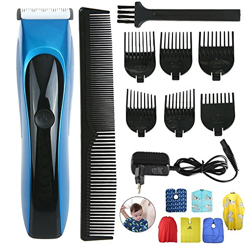 Full Waterproof Rechargeable hair clipper trimmer ceramic head cutting low noise infant precision clipper professional baby Adult barber hair cutting machine Salon Apron with Limit Combs(Blue)