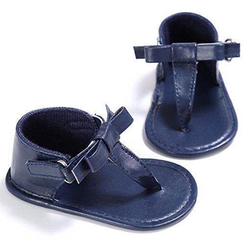 bescita Kleinkind Mädchen Krippe Schuhe Neugeborenen Blume Weiche Sohle Anti-Rutsch-Baby Sneakers Sandalen (13, Blau)