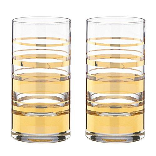 kate spade new york Hampton Street Hiball Glasses, Set of 2 - Gold Lenox 852110