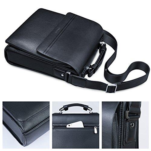 9 Bolsa de Bandolera Bolso Pequeño iPad de para de Pulgadas Negro Cuero Lifewit Hombro SvPpwCnqn