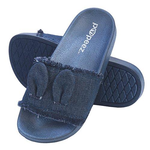 Pupeez Girl's Slide Sandals Kids Open Toe Denim Summer Slippers Ultra Comfort by Pupeez