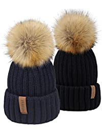 144d0fef012 Kids Winter Faux Fur Pom Pom Hat Toddler Boys Girls Kids Knitted Beanie Hat  (Ages