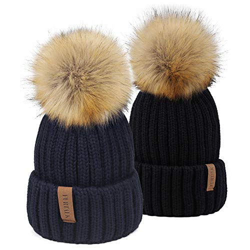 FURTALK Kids Winter Knitted Faux Fur Pom Pom Cap Toddler Boys Girls Kids Beanie Hat (Ages 1-6) (One Size, Black+Navy) 2 Pack Knitted Hat