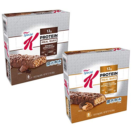 Kellogg's Special K Protein Meal Bars, Variety Pack, Double Chocolate, Chocolate Peanut Butter, Bulk Size, 32 Count (Pack of 4, 12.7 oz Boxes) (Special K Double Chocolate Protein Meal Bar)