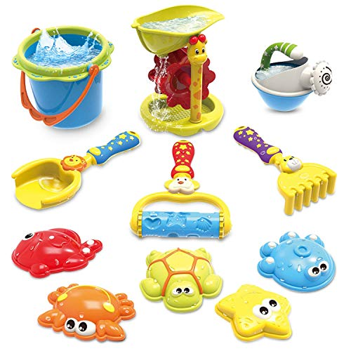 GrowthPic Kids Beach Sand Toy Set with Bucket, Sand Wheel, Watering Can, Shovel, Rake, Rolling Rake and 5 Sea Creatures Molds and Sand Tool Play Set for Babies and Toddlers ()