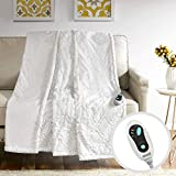 Beautyrest Brushed Long Fur Electric Throw Blanket Ogee Pattern Warm and Soft Heated Wrap with Auto Shutoff, 50' W x 60' L, Ivory