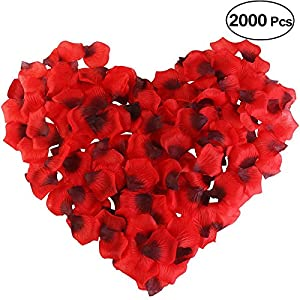 Rose Petals, JustM 2000 pcs Artificial Silk Rose Petals Carpet Flowers Bulk for Wedding Favor Party Decoration 117
