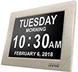 American Lifetime [Newest Version] Day Clock - Extra Large Impaired Vision Digital Clock with Battery Backup & 5 Alarm Options (Cream Marble Color)