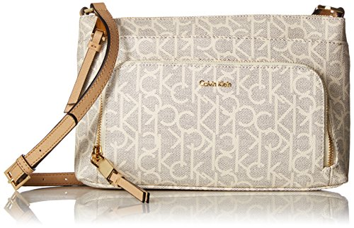 Calvin Klein Hudson Top Zip Signature Crossbody, Cream