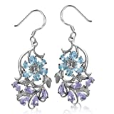 Genuine Blue Topaz & Amethyst 925 Sterling Silver Flower & Leaf Dangle Earrings