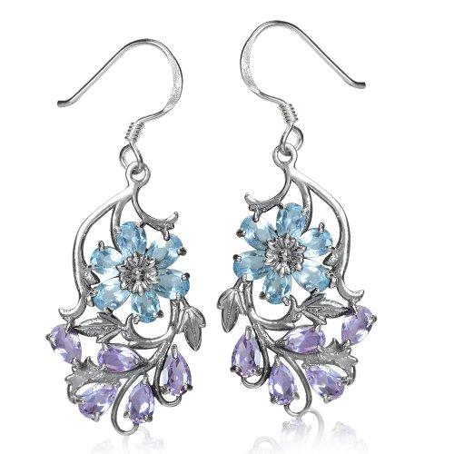 Genuine Blue Topaz & Amethyst 925 Sterling Silver Flower & Leaf Dangle Earrings