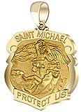 Men's 14k Yellow Gold Saint Michael Polished Finish Shield Badge 1.125in Hollow Pendant