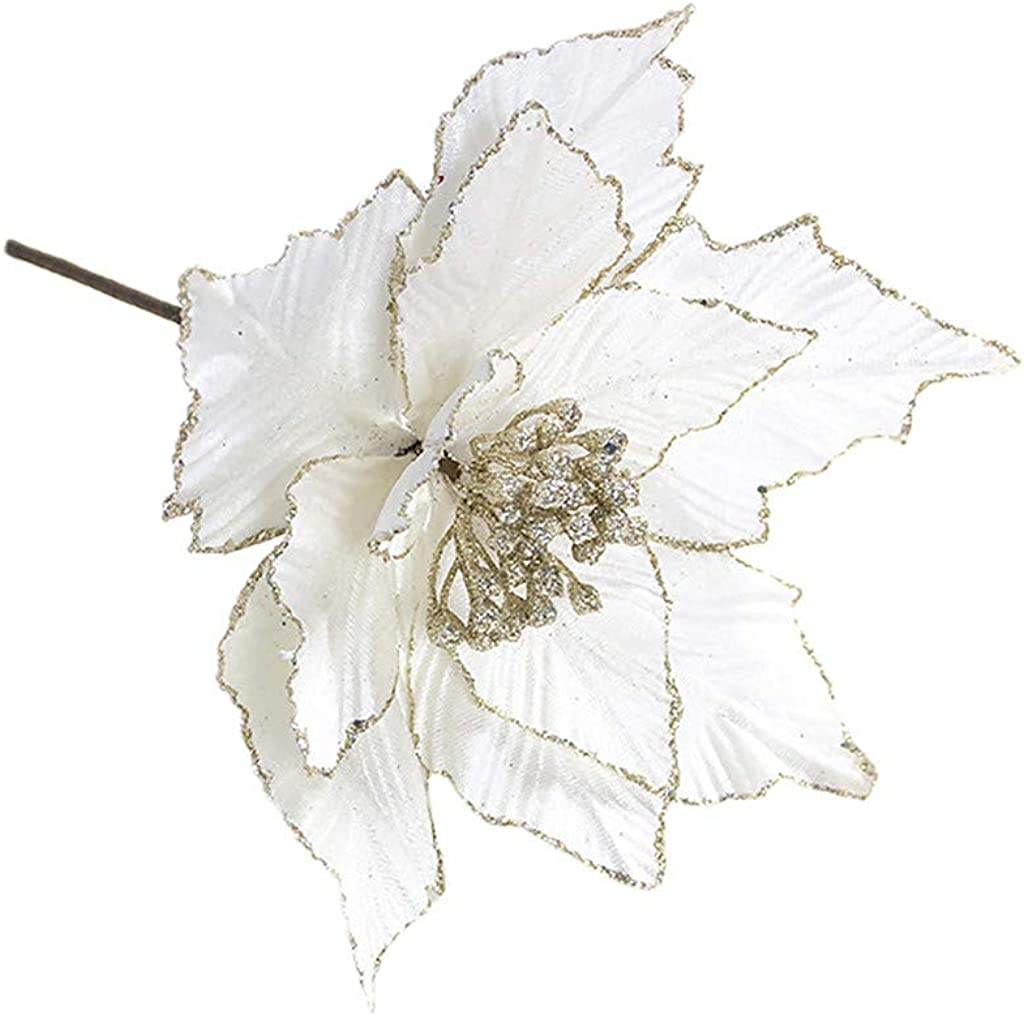 산-S 크리스마스 트리 인공 꽃 장식 아름다운 실크 반짝이 빛나는 포인 세티아 인공 꽃 크리스마스 트리 웨딩 크리스마스 홈 프론트 도어 화환 테이블 장식품