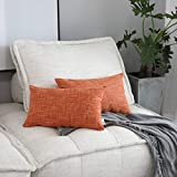 Kevin Textile Pack of 2, Deluxe Home Decorative Super Soft Lumbar Throw Pillow Cover Cushion Case (12 x 20 inch, Orange)