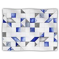 Kess InHouse Kira Crees 'Winter Geometry' White Blue Dog Blanket, 40 by 30-Inch