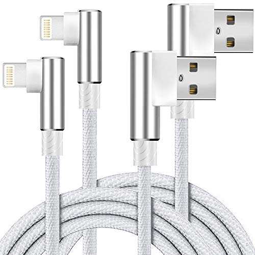 Boost+ Chargers 2-Pack 6FT/2M Nylon Braided Right Angle 90 Degree USB Fast Charging Transfer Data Cord Cable Travel Charger Silver