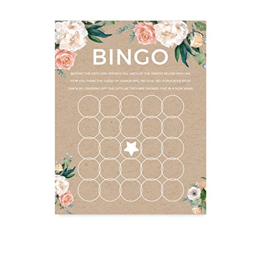 Andaz Press Peach Coral Kraft Brown Rustic Floral Garden Party Wedding Collection, Bridal Shower Bingo Game Cards, 20-Pack