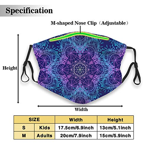 Sacred Geometry Symbols Pattern Dust Mask with 2Pcs Filters,Anti Dust Mouth Mask,Reusable Face Mask Black