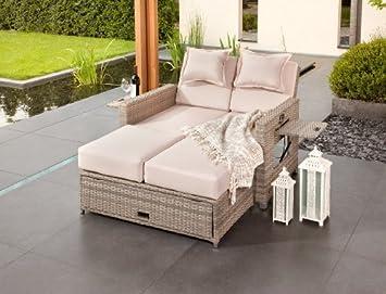 Doppel sonnenliege rattan  Amazon.de: Edles Lounge-Sofa 3 in 1, Doppel Gartenliege ...