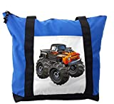 Lunarable Boy's Room Shoulder Bag, Monster Truck in Flame, Durable with Zipper