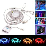 Simfonio USB or Battery LED Strip Lights 1M 30LEDs IP65 Waterproof 5050 RGB TV LED Strip With Mini Controll
