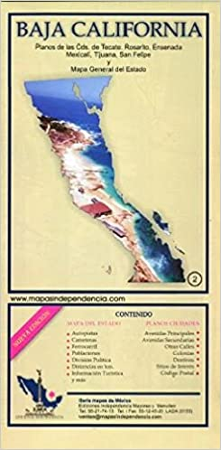 Baja California, Mexico, State and Major Cities Map (Spanish Edition ...