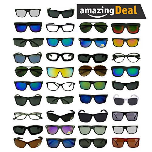 Womens LOT of 12, 25 Assorted Colors & Style Retro Classic Vintage Designer Inspired Sunglasses Wholesale Deal (Lot of 25 (Mens), Assorted)