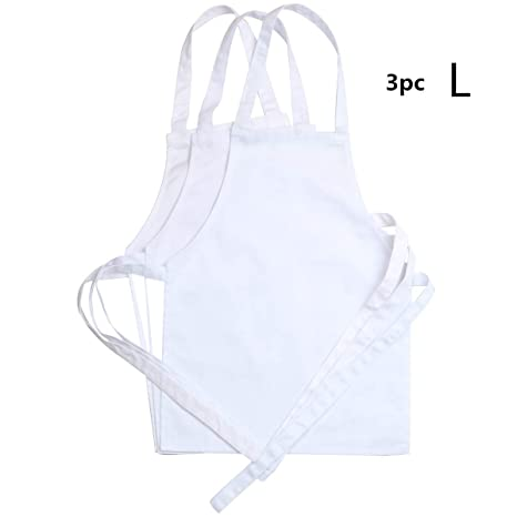 wholesale dealer official buying now 3 Pack White Kids'Chef Apron,School and Home Artist for Cooking,  Baking,Painting or Decorating Party (Large/9-12Years)
