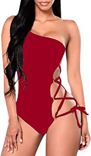 wodceeke Women's One-Shoulder One Piece Swimsuit Solid Color Hollow Out Monokini Swimwear