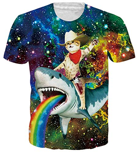 Male Dry Raw Jazz Crew Graphic T-Shirts Adult Women Pop Short Sleeve Tees Nebula Surf Bar Designer Animal Cat Ride Shark T Shirts for Men -