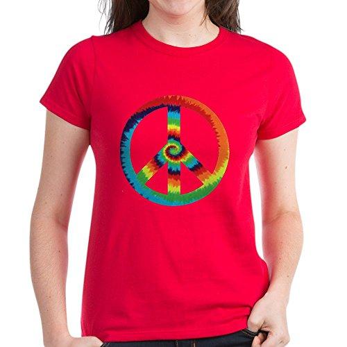 (Royal Lion Women's Dark T-Shirt Tye Dye Peace Symbol - Red, Medium)