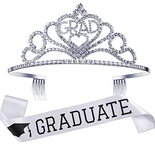 2019 Graduation Party Supplies Kits, Glittered Metal Graduation Princess Grad Crown Tiara and Graduated Sash, Great Gifts for Graduation Party Decorations Grad Decor Favors (White)