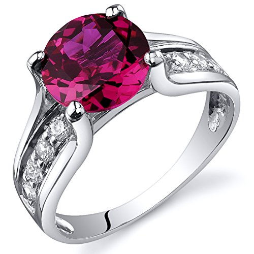Solitaire Style 2.50 carats Cubic zirconia Ruby Ring in Sterling Silver Rhodium Finish Size 9, Available in Sizes 5 thru 9