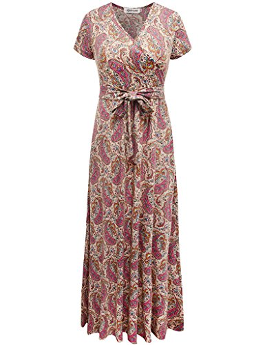 Aphratti Women's Bohemian Short Sleeve V Neck Faux Wrap Vintage Maxi Dress Multi Apricot Medium