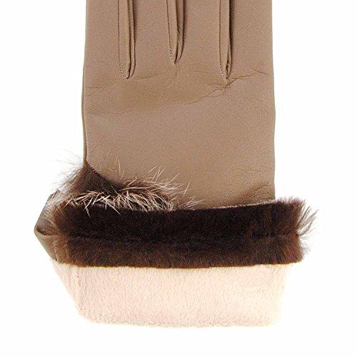 Gants en cuir avec poils de lapin Taille: 70 Couleur: MARRON
