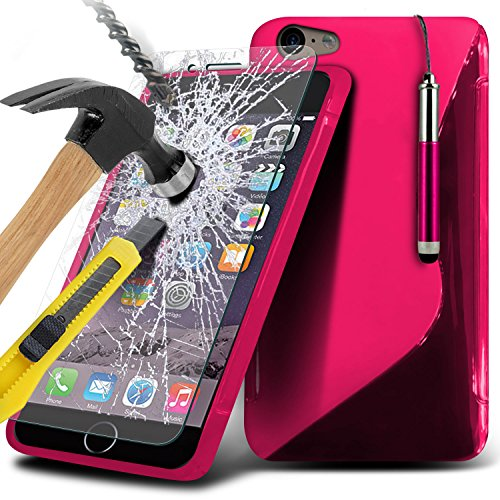 Aventus ( Hot Pink ) Apple iPhone 6S Plus Case Protective Elegant S linea cassa del gel dellonda copertura della pelle con protezioni dello schermo in vetro temperato Crystal Clear LCD, Panno e Mini