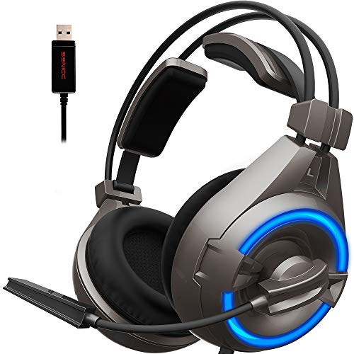 SENICC A6 Stereo Gaming Headset with Microphone USB LED Light, Flying Wing Lightweight Design Over-Ear Noise Cancelling Surround Sound Headphones for PC, PS4