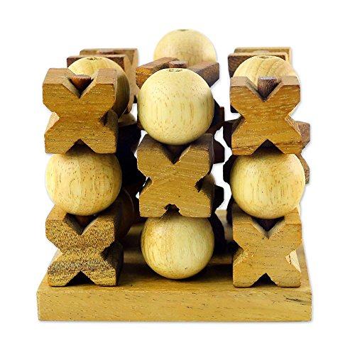 NOVICA Light Brown Hand Made Rain Tree Wood Tic Tac Toe Game,