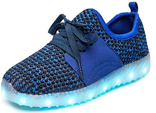You Tube Christmas Shoes (LED Light-Up Shoes for Christmas Kids USB Flashing Sneakers(Blue 5 M US Big Kid))