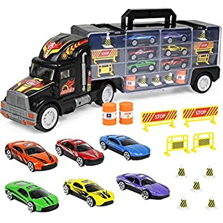 "Click N' Play Transport Car Carrier Truck, Loaded with Cars, Road Signs & More. Holdup To 28 Cars. Jumbo 22"" Long"
