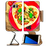 Luxlady Premium Samsung Galaxy S7 Edge Flip Pu Leather Wallet Case IMAGE ID 25639700 Delicious italian pizza served on wooden table offers