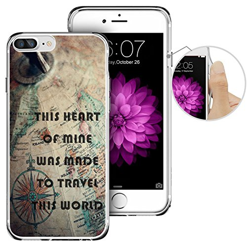 iPhone 7 Plus Case,Apple 7 Plus Case, LAACO Beautiful Clear TPU Case Rubber Silicone Skin Cover for iPhone 7 Plus - Nostalgic Map