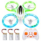 Cumbor Mini Drones for Kids and Beginners, RC Helicopter Quadcopter with Auto Hovering, Headless Mode, Extra Batteries, LEDs and Remote Control