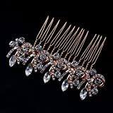 Flower Wedding Hair Pins Bridesmaid Crystal Diamante Pearls Bridal Clips Comb (Golden+Silver)