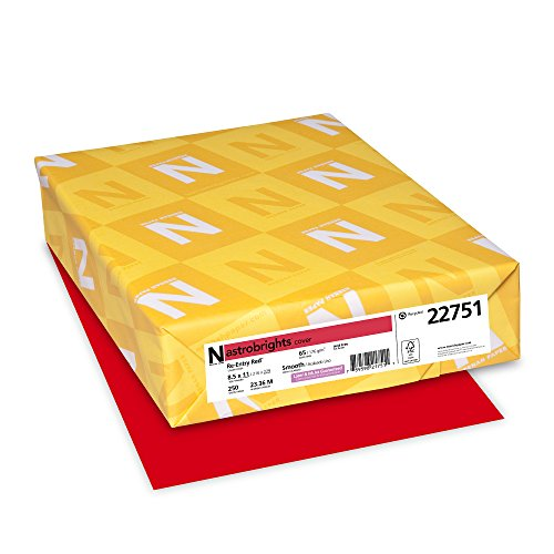 (Neenah Astrobrights Premium Color Card Stock, 65 lb, 8.5 x 11 Inches, 250 Sheets, Re-Entry Red)
