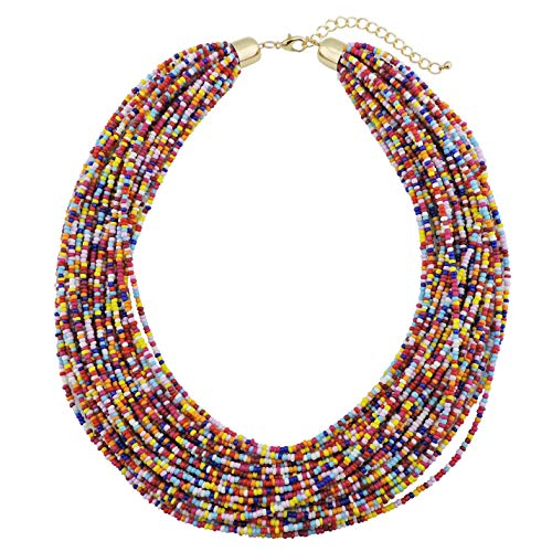 Bocar Multi Layer Chunky Bib Statement Seed Beads Cluster Collar Necklace for Women Gift (NK-10351-multicolor) ()