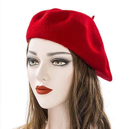 - DANLAN Women Wool Beret Hat Solid Color French Style Warm Cap (Red)
