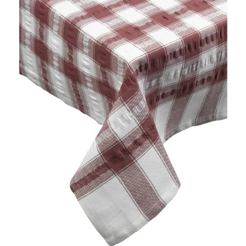 (Seersucker Round Checked Tablecloth Cotton Check Downview Table Linen 70