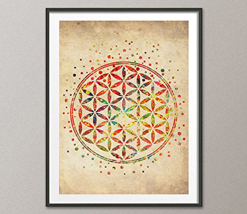 Vintage Flower of Life Sacred Geometry Watercolor Art Print Wall Poster Wedding Gift Nursery