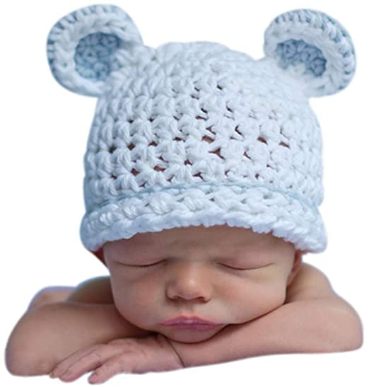 Melondipity Sugar Bear Boy White with Light Blue Trim Baby Hat - White (0- afbcfc3be38